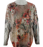 California Bloom - Double Bloom, Floral Print with Burnouts along with a Round Neck