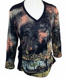 Boho Chic Long Sleeve, V-Neck Collar, Pullover Fashion Top, Flared Bottom - Italy