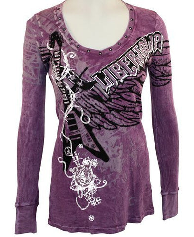 Libertalia Purple Scoop Neck, Silver Studs and Rhinestones - Electric