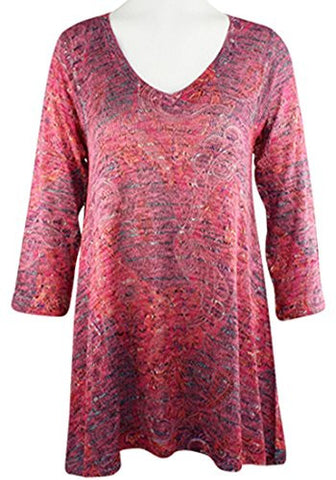 Nally & Millie - Paisley Swirls, V-Neck, 3/4 Sleeve Open Knit Tunic Top