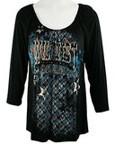 Vanilla Sugar -Wild West Cowgirl, Long Sleeve, Scoop Neck Rhinestone Tunic Top