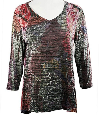 Cubism - Geo Haze, Long Sleeve Hi-Low Tunic Top Style Seams