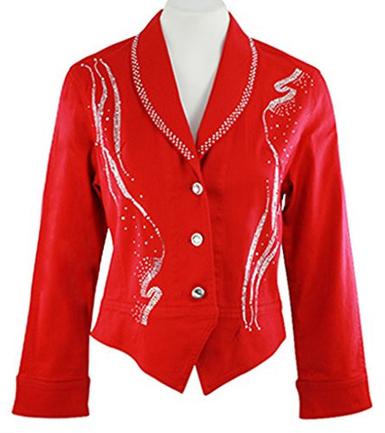 Katina Marie Long Sleeve Rhinestone Front Collar Button Front Red Jacket