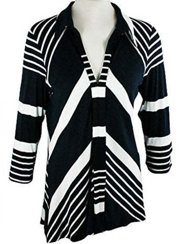 Boho Chic - Transverse, Long Sleeve Scoop Neck Diagonal Stripes Tunic Top