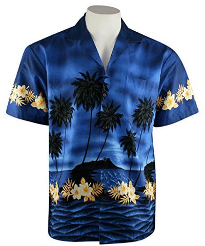 Ky's International - Tropical Reefs, Men's Casual Hawaiian Shirt, Navy Blue