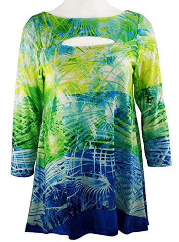 Boho Chic - Blue Tropics, 3/4 Sleeve, Patterned Batik Neck, Fashion Tunic Top