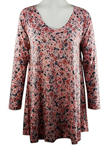 Nally & Millie Ditsy Flowers, V-Neck, Long Sleeve Floral Print Tunic Top