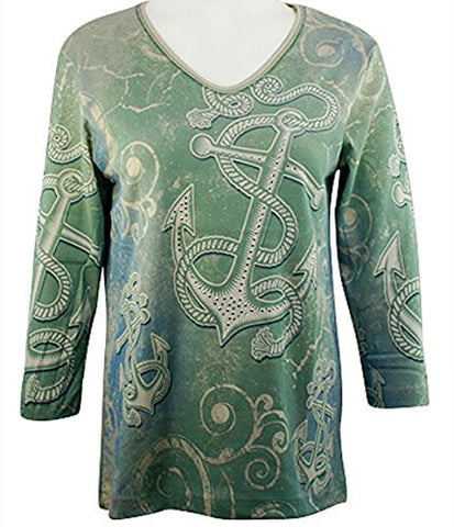 Cactus Bay Apparel - Anchors, 3/4 Sleeve, V-Neck Rhinestone Cotton Print Top