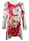 Cactus Fashion - White Flower, 3/4 Sleeve Scoop Neck, Rhinestone Print Tunic
