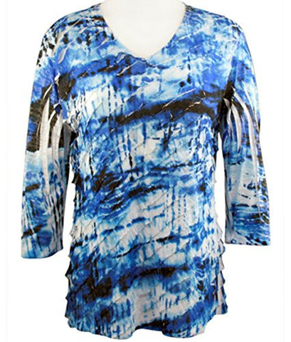 Jess & Jane - Blue Dye, 3/4 Sleeve V-Neck Ruffled Sublimation Top