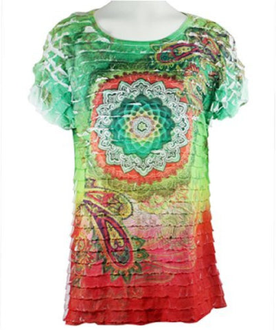 Cactus Fashion - Circle of Life, Short Sleeve Horizontal Ruffled Top