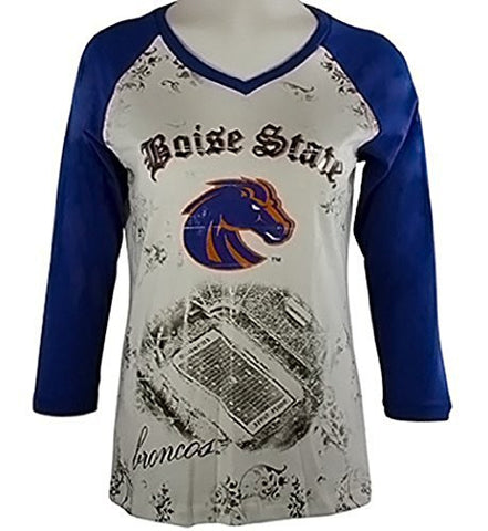 P-Michael Collegiate Top - Boise State U Top, School Colors, School Name in Foil