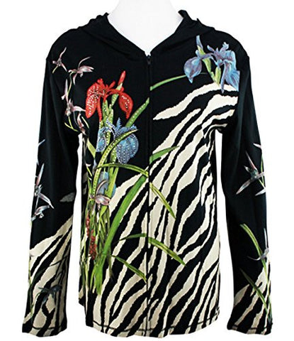 Cactus Fashion - Flower & Animal Skin, Cotton Print Rhinestone Hoodie Top
