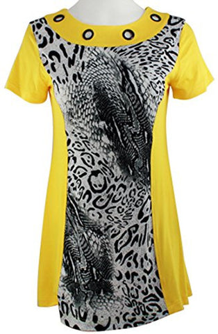 Isabel Clothing - Wilderness View, Short Sleeve Accented Collar Fashion Tunic