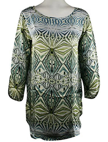 APNY Apparel Geo Shapes, Scoop Neck, Long Sleeve Lightweight Tunic Top