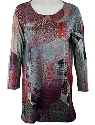 Cactus Fashion - Patchwork Patterns, 3/4 Sleeve, Scoop Neck Sublimation Print Top