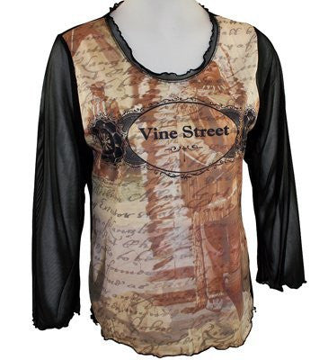 Vine Street Apparel, Beige & Black Top with 3/4 Sheer Sleeves - Native
