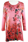 Cactus Fashion - Coral Flower, 3/4 Sleeve Scoop Neck, Rhinestone Print Tunic