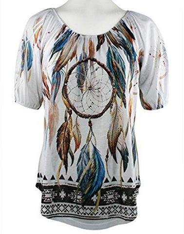 Big Bang Clothing Company - Dream Catcher, Short Sleeve Rhinestone Accent Blouse