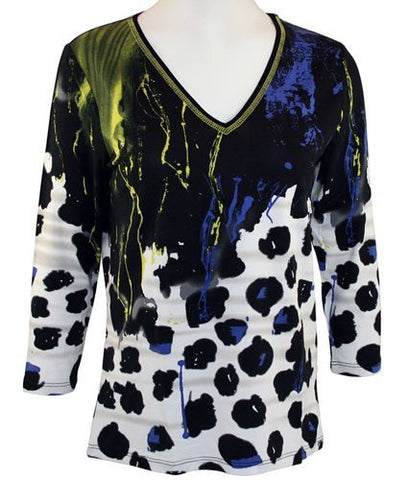 Lynn Ritchie - Scattered Spots, Geometric Print, 3/4 Sleeve, V-Neck Fashion Top