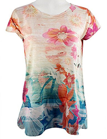 Cubism Apparel - Gradient Flowers, Scoop Neck, Cap Sleeve, Fashion Top