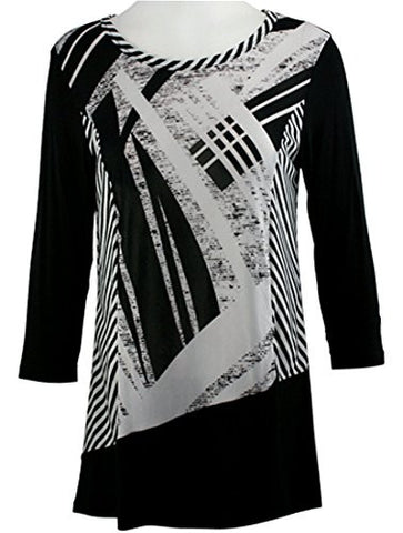 Cactus Fashion - Striped Roads, 3/4 Sleeve, Printed Scoop Neck Tunic Top