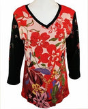 Cactus Fashion Rhinestones, Red & Black V-Neck Top - Tropical Flower