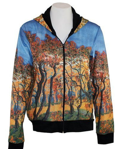 Breeke & Company Autumn Forest Hand Silk-Screened, Cotton Micro Blend Hoodie