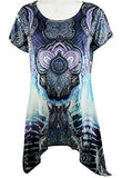 Creation - Medallions, Short Sleeve Asymmetric Hem Geometric Print Tunic