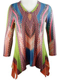 Boho Chic Long Sleeve Sharkbite Hem V-Neck Tunic Top - Abstract Thoughts