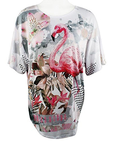 Big Bang Clothing Pink Flamingo, Scoop Neck, Rhinestone Accented Print Top
