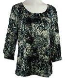 Tribal - Pattern Maze Fashion Top with Boat Neck on a Microfiber Body