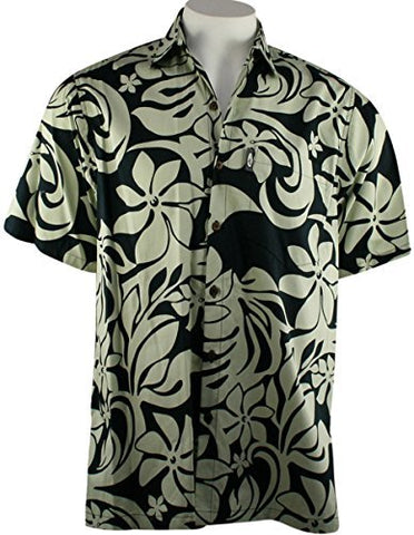 Go Barefoot - Papeete, Banded Collar Classic Hawaiian Men's Shirt Side Vents & Coconut Buttons