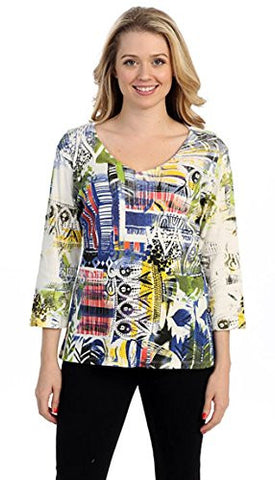 Katina Marie Spring Collage, 3/4 Sleeve, V-Neck Geometric Print Fashion Top