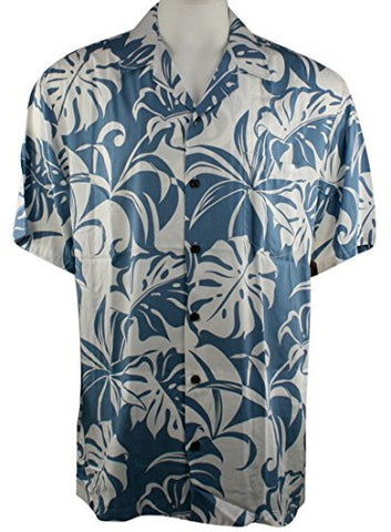 Kalaheo by RJC - Blue & White Leaves Single Pocket Classic Hawaiian Button Front Tropical Shirt