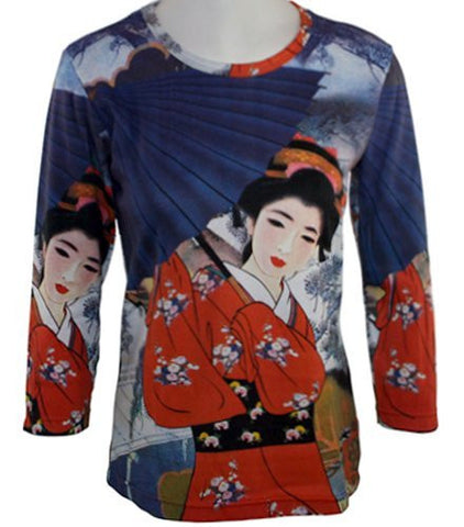Breeke - Japanese Lady w/Blue Umbrella Hand Silk-Screened Cotton Micro Blend Top