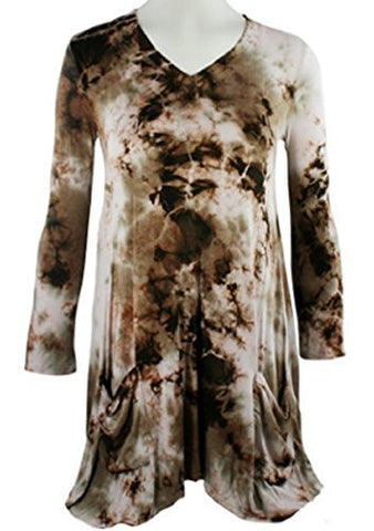 Boho Chic - Brown Green Tie Dye Tunic, Shark Bite Hem with Front Pockets