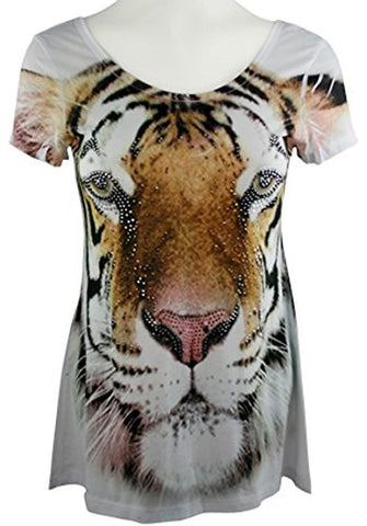 Big Bang Clothing - White Tiger, Short Sleeve Scoop Neck Rhinestone Print Top