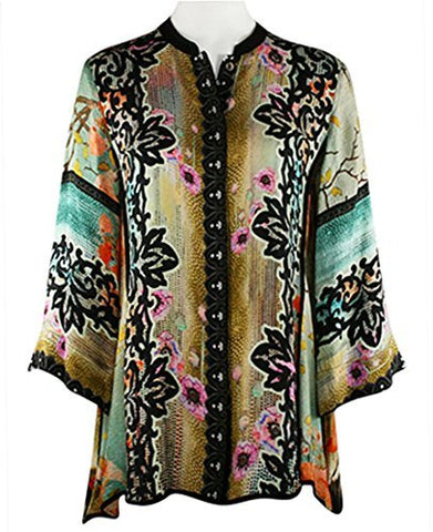 Citron Red Landscape Poppies, Asian Style Vintage Mandarin Collar Silk Tunic