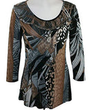 Mesmerize - Leaves 3/4 Sleeve, Geometric Pattern with Ruffled Front and Scoop Neck
