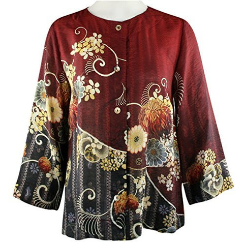 Citron Lotus Sky Blossoms, Asian Style Vintage Cropped Jacket With Back Pleat