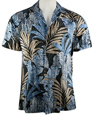 RJC Hawaii Fern Leaves, Single Pocket Classic Hawaiian Button Front Reverse Print Cotton Shirt