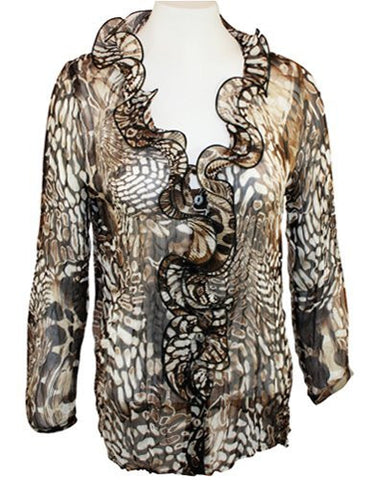 Mesmerize - Amor, Button Front, Ruffled Animal Print Pattern Top