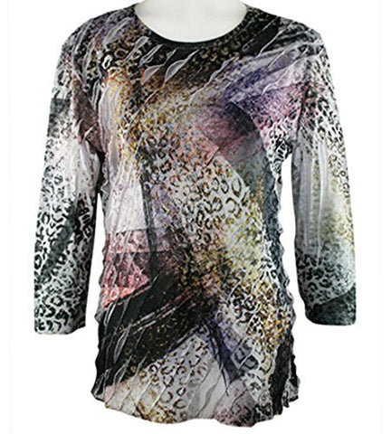 Jess n Jane - Royal Fun, 3/4 Sleeve, Scoop Neck, Ruffled Sublimation Top
