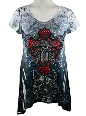 Big Bang Clothing - Red Cross, Cap Sleeve, V-Neck Rhinestone Print Lightweight Top