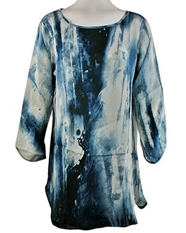 APNY Apparel Blue Splash, Scoop Neck, Long Sleeve Printed Lightweight Tunic