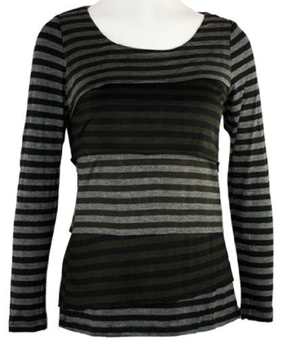 Tribal - Stripe, Top with Scoop Neck on a Rayon & Spandex Body