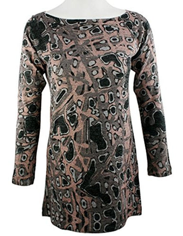 Nally & Millie - Stone Age, Geometric Pattern Boat Neck Tunic Lurex Stitching