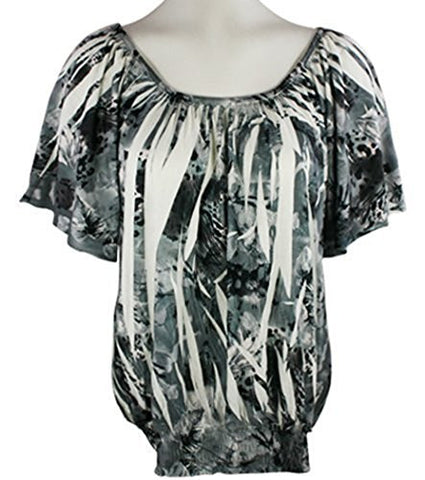 Select Clothing Short Sleeve, Sublimation Burnout Print, Black & White, Boat Neck Top
