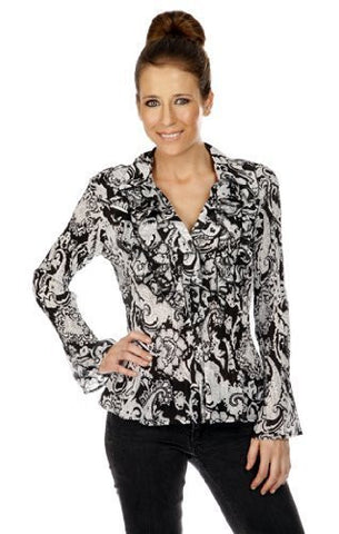 Cathaya Pleated Geometric Print, Flared Long Sleeve Blouse with a Layered V-Neck
